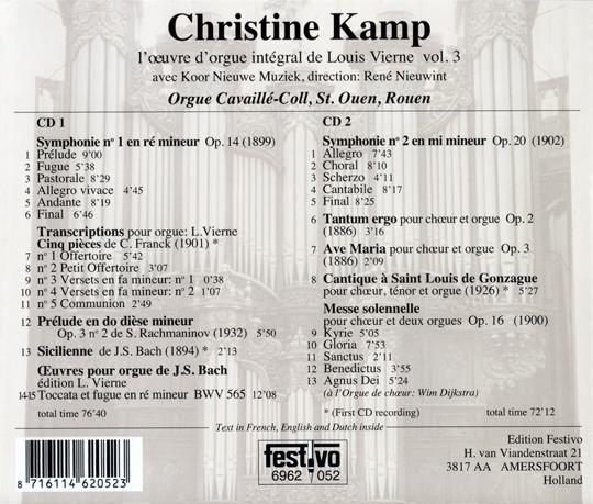 Louis Vierne vol. 3, voorzijde cd